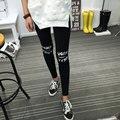 2016 Primavera Ropa Nueva de Corea del Algodón Ocasional de Las Mujeres Leggings Letras de Apertura de La Rodilla Leggings Mujeres Pantalones pantalones de Las Mujeres