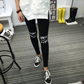 2016 Spring Women's Clothing New Korean Casual Cotton Leggings Knee Letters Opening Leggings Pants Women Trousers Women