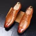 Crocodile Pattern Wedding Shoes Man Black Square Toe British Men'S Dress Shoes Lace Up Stylish Brown Men'S Genuine Leather Shoe