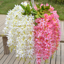 New High Quanlity Plants Wisteria Hang Silk Flowers Artificial Vine Party Wedding Home Decorations Flores Artificiales