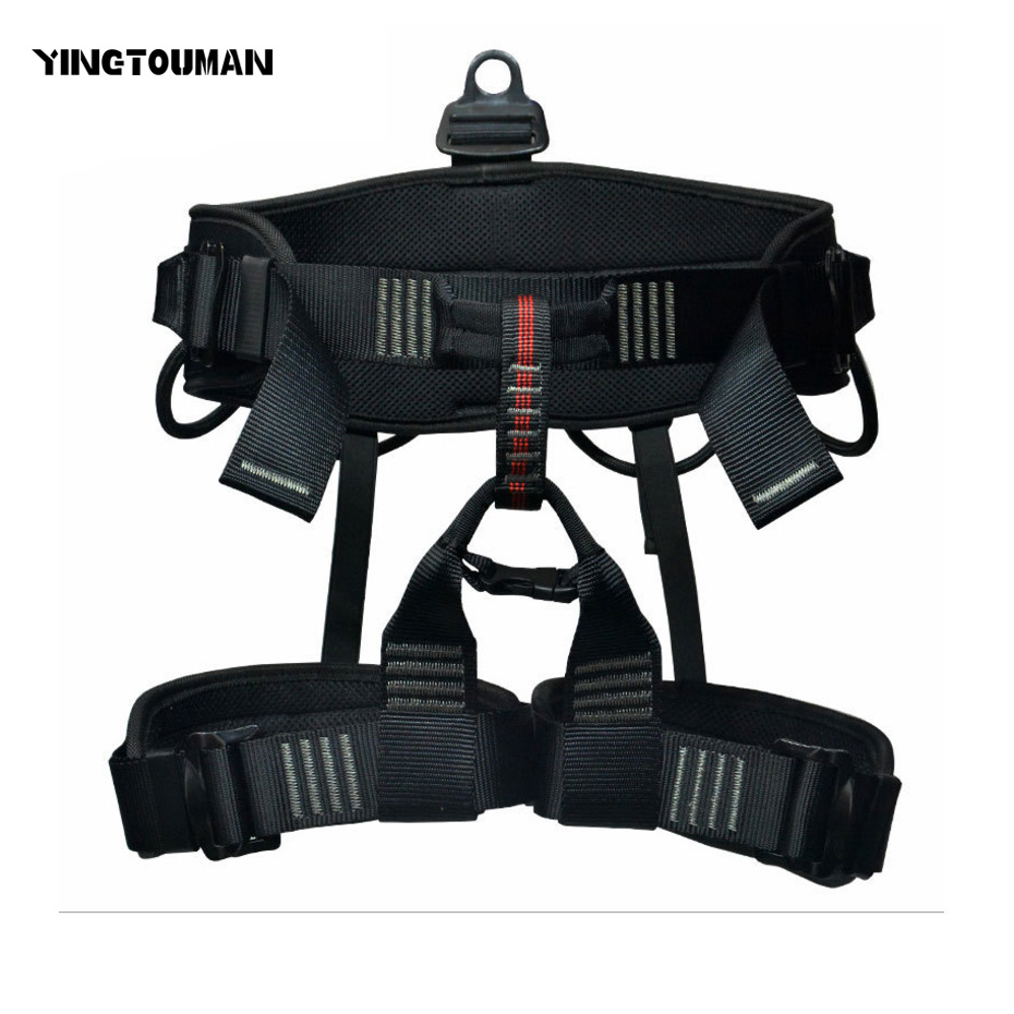 YINGTOUMAN Half Body Climbing Harness Safety Seat Belt for Rock Climbing Mountaineering Rescue Equipment 25kn professional carabiner d shape safety master lock outdoor rock climbing buckle equipment
