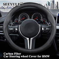 1pc SEEYULE Sporty Carbon Fiber Car Steering Wheel Cover Protector Genuine Leather Styling for BMW 1 3 5 7 Series GT X1 X3 X5 X6
