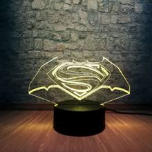New Batman Superman Symbol 3D Night Light Multicolor Bedroom Sleep Lamp Home Decor Holiday Gift Toys Luminaria USB Base Switch(China)