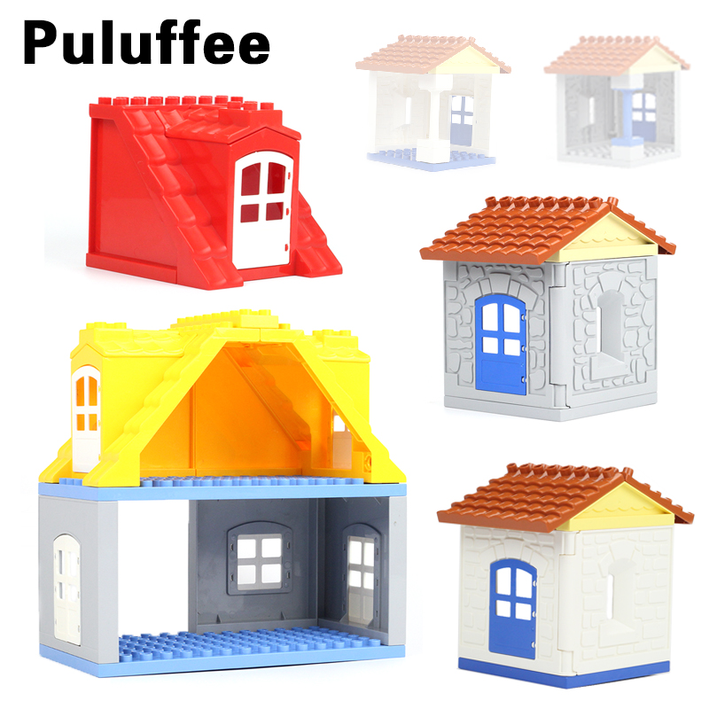 House Set Assemble Brick Big Particles Building Blocks Roof wall column window accessory Compatible with Duplo Baby DIY Toy gift цена 2017