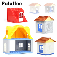 House Set Assemble Brick Big Particles Building Blocks Roof wall column window accessory Compatible with Duplo Baby DIY Toy gift