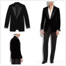 2018 Black Lapel Velvet Tuxedo Coat Mens Suit 40r 42r 44r 46r 46l 48l Custom