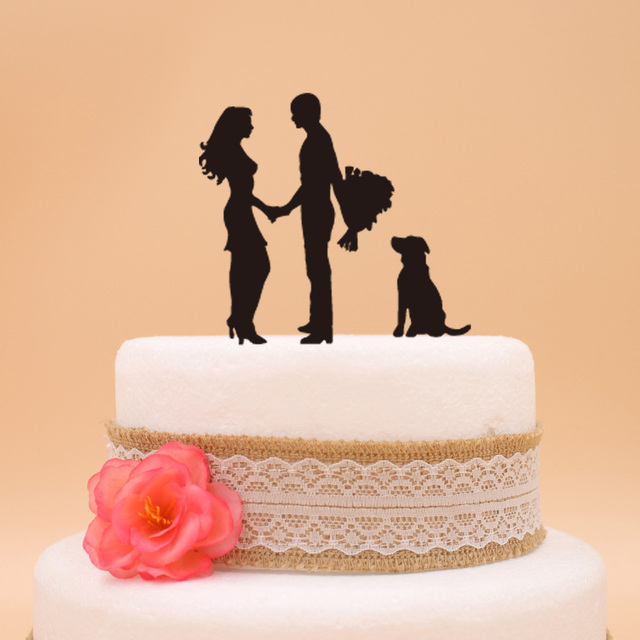 Free shipping wedding cake topper with Dog Stand Bride & Groom ...