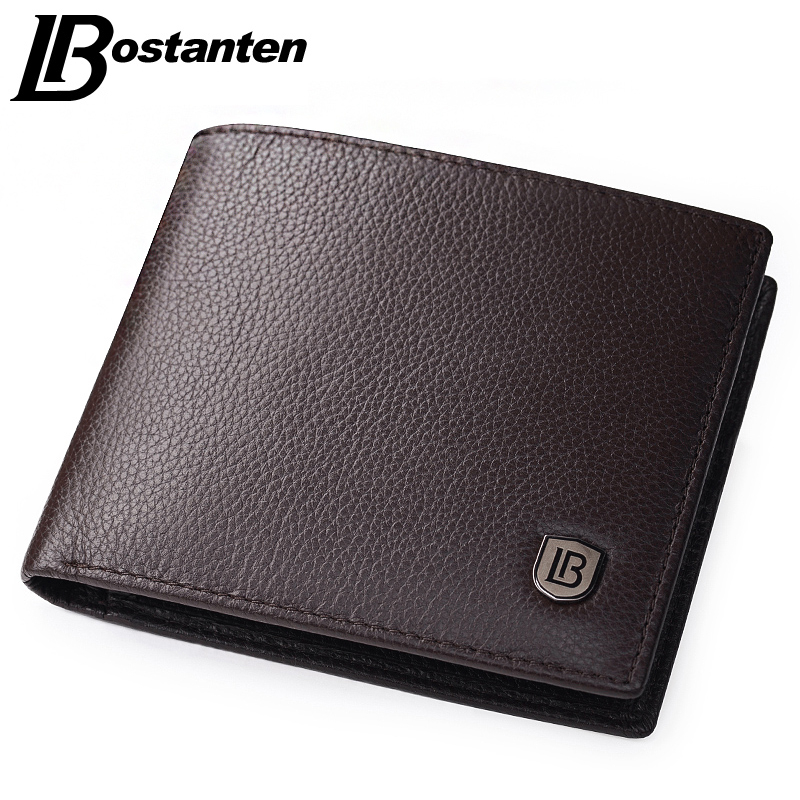 Bostanten Coffee Men Wallets Famous Brand Genuine Leather Male Money Purses New Classic Soild Pattern Designer Soft ID Card Case