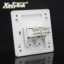 Xintylink настенная розетка панель rj45 jack модульная 2 порта cat5e cat6 pc Keystone настенная Лицевая панель без инструментов 86 мм компьютер