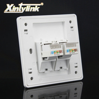 Xintylink 2 Port Cat5e Cat6 Keystone Wall Plate Faceplate Rj45 Jack Modular Face Plate Socket Two
