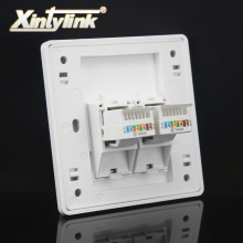 xintylink 2 Port cat5e cat6 Keystone Wall plate Faceplate rj45 jack modular Face plate Socket two rj45 port wall socket panel