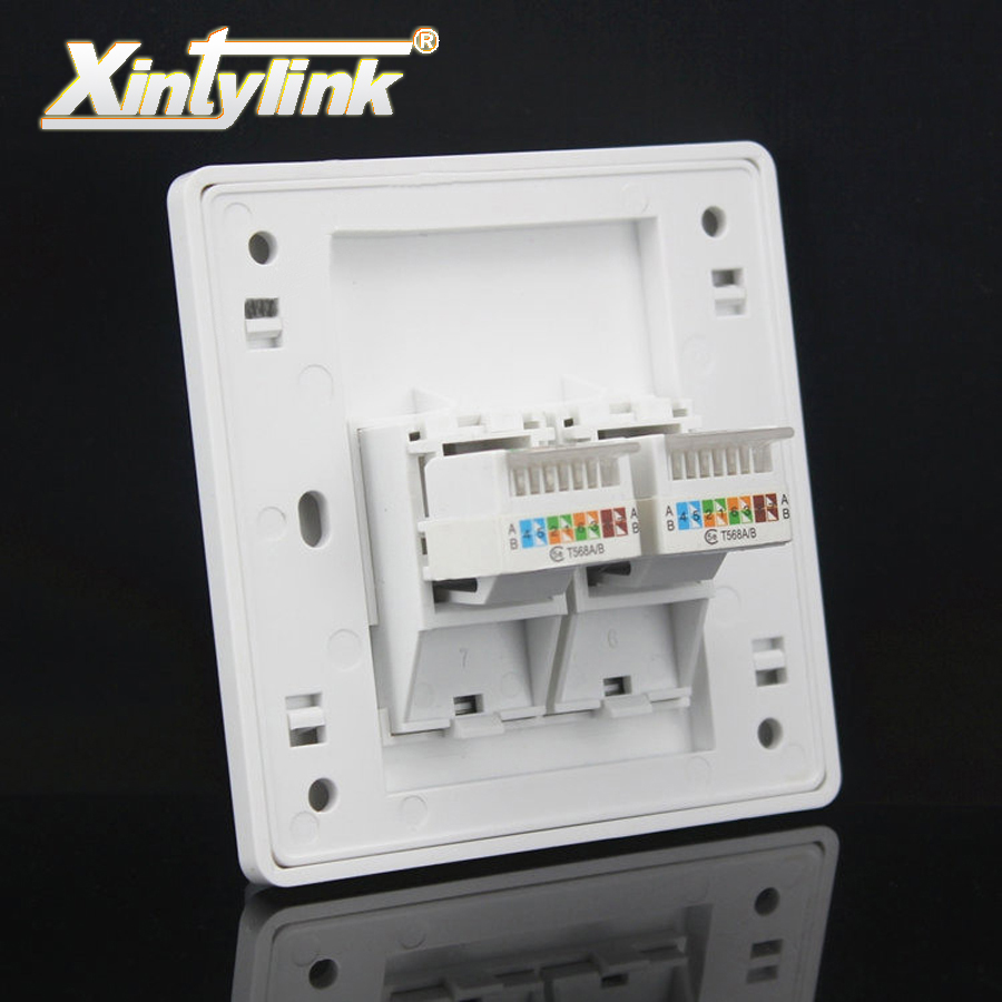 xintylink wall socket panel rj45 jack modular 2 Port cat5e cat6 pc Keystone Wall Face plate Faceplate toolless 86mm computer 24 pcs rj45 modular network pcb jack 56 8p w led 4 ports