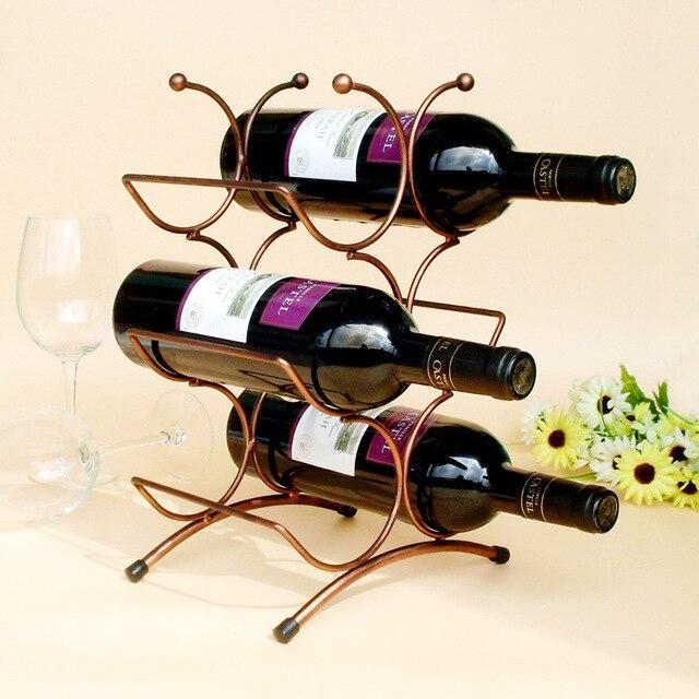 1pc 6 Bottles Wine Racks Metal Bottle Holder Stand Shelf Tabletop Decoration Home Bar
