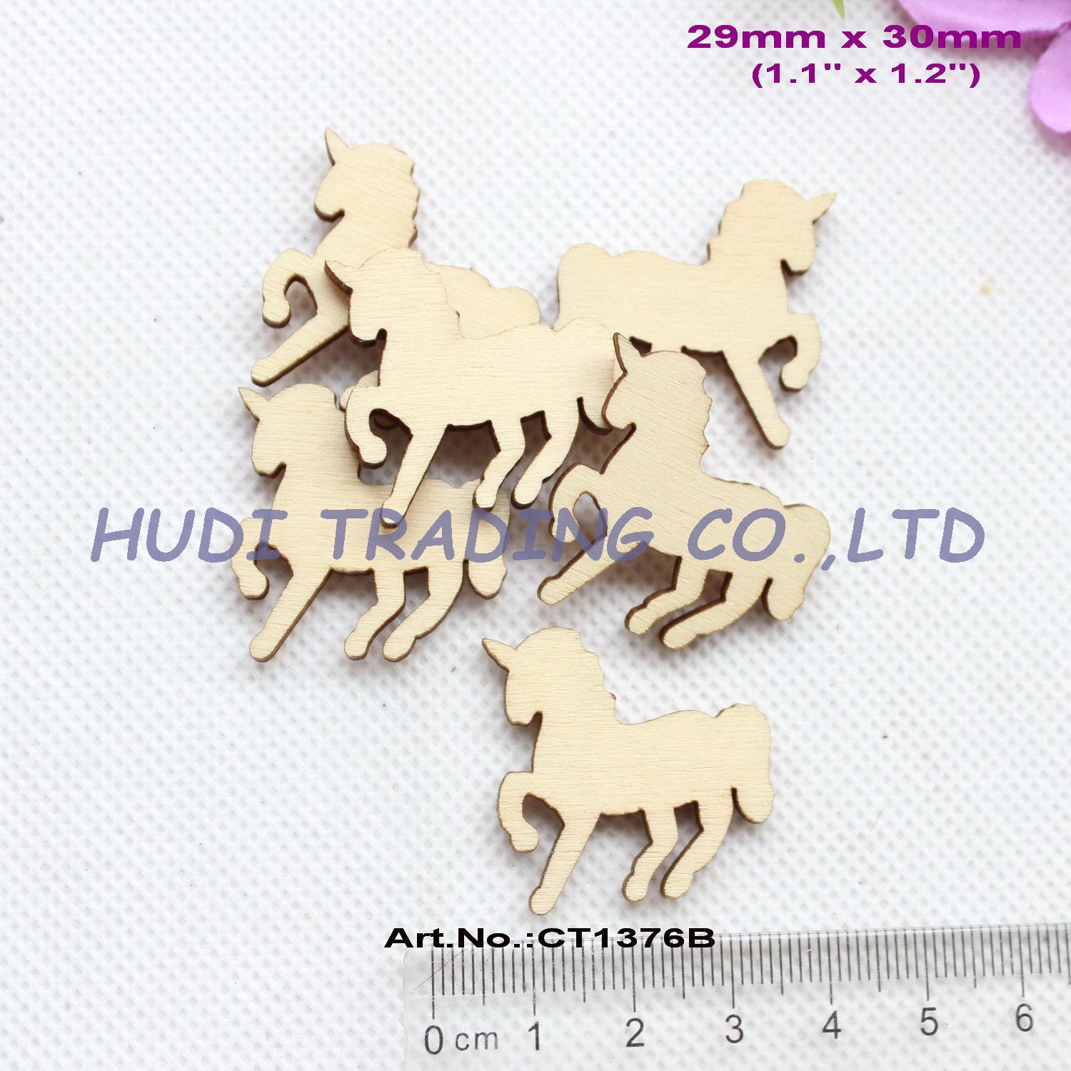 (100pcslot) 30mm Natural Blank Wooden Unicorn Brooches (no pin) Ornaments Rustic Wood Favor Unicorn 1.2- CT1376B