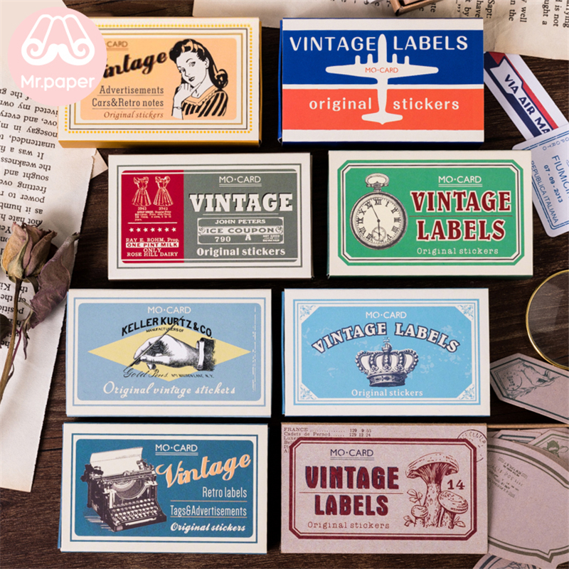 Mr.paper 60Pcs/box Vintage Retro Style Deco Diary Stickers Scrapbooking Bullet Journal Suit For Writing Stationery Stickers