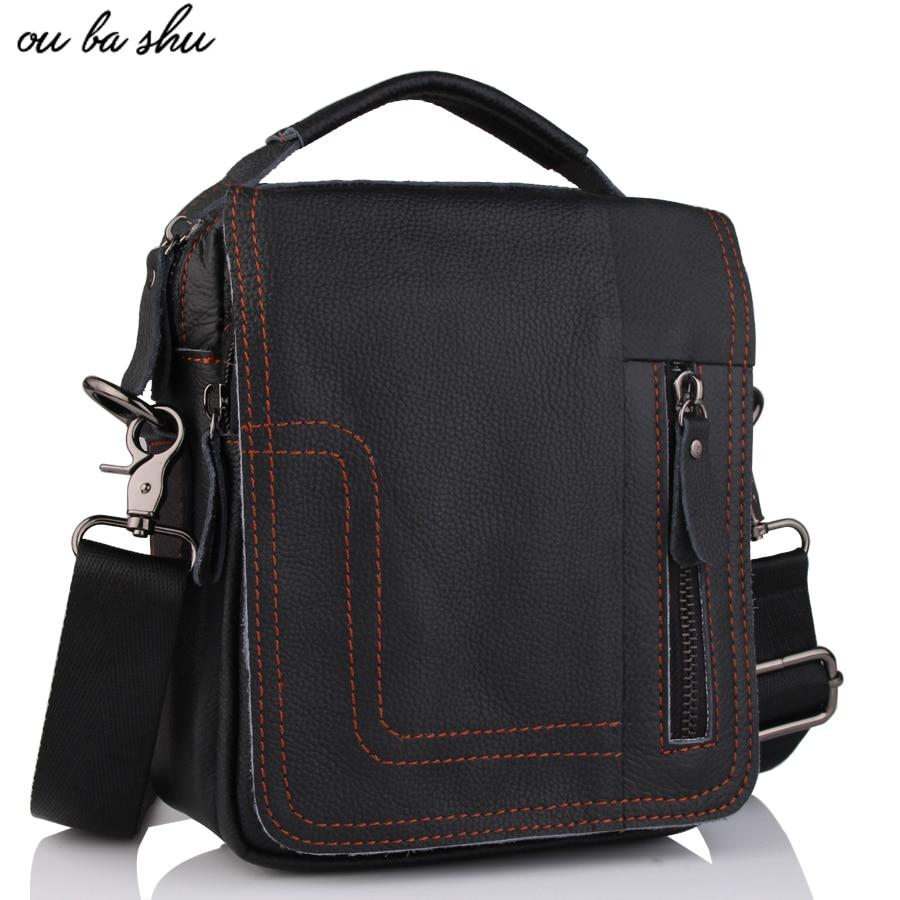 OU BA SHU Men's Natural Cowskin Small Travel Bag Man Genuine Leather Vintage Business Messenger Shoulder Bag For Man shanghai chun shu chunz chun leveled kp1000a 1600v convex plate scr thyristors package mail