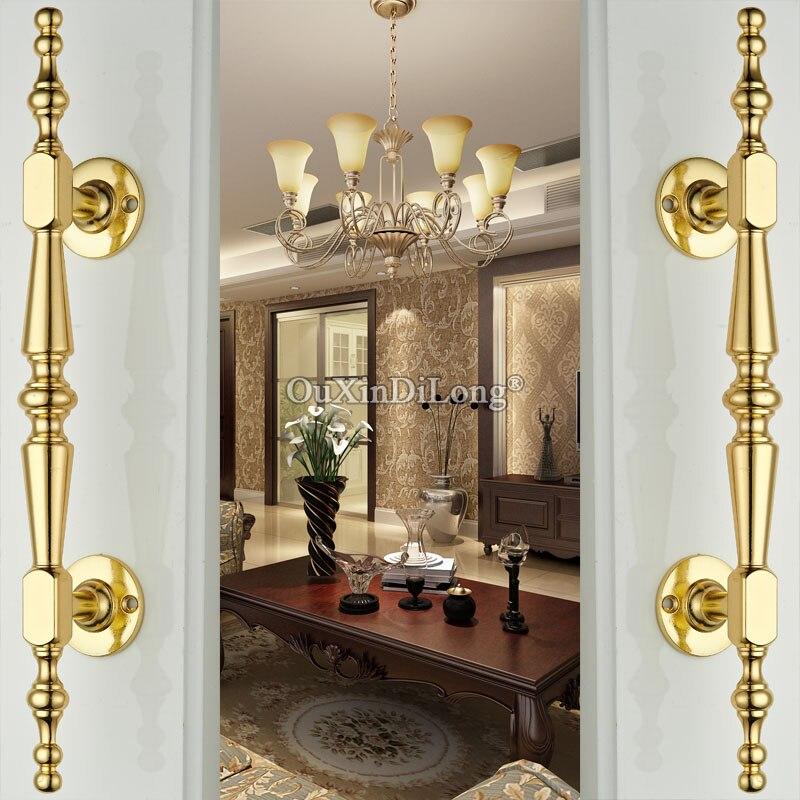 2PCS Gold Solid Wooden Door Sliding Door Wardrobe Zinc Alloy Door Handle Cabinet Drawer Handle Knobs