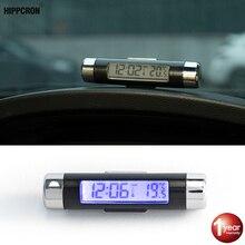 Портативные 2в1 автомобильные цифровые ЖК-часы и температурный дисплей автомобильные электронные часы термометр Синяя подсветка с зажимом