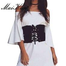 Maikun Elastic Vintage Wide Belts for Women Jeans Famous Brand Designer Party Belts Women's Black Costume Belts
