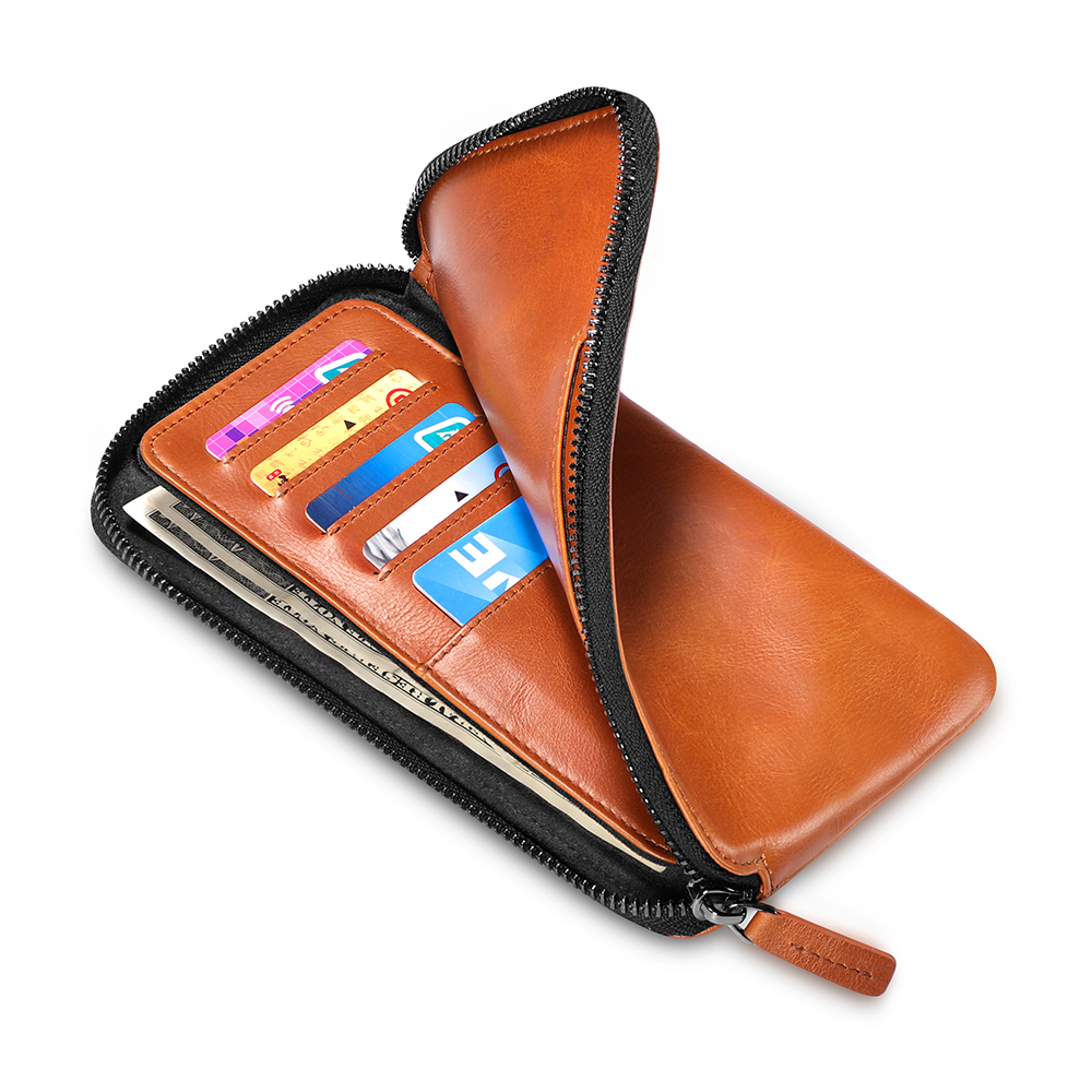 NewBring Genuine Leather Wallet Long Purse Coin Purse Card Holder Clutch Wallet Large Capacity Phone Pocket