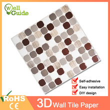 Wall paper 3D crystal Marble Mosaic Self-adhesive Stickers Waterproof for Kitchen Bathroom Home Decal Sticker Vinyl