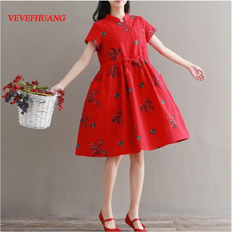 Mori Girl Summer Women Vintage Dress Stand Collar Elegant Printed Red Vestidos Femininos Short Sleeve Ethnic Retro Dresses