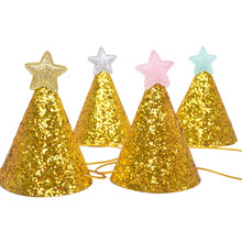 10pcs Mini Cute Korean Style Twinkle Gold Star DIY Paper Celebration Party Hat Birthday Cap Children Kids Birthday Party Decor(China)
