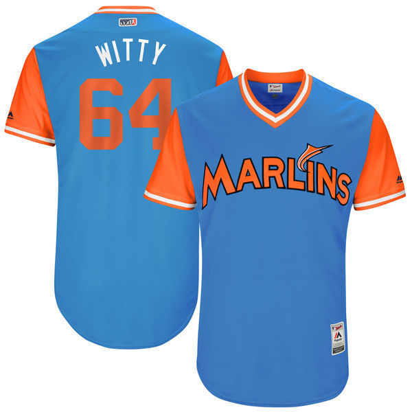 MLB Mens Miami Marlins Nick Wittgren Witty Baseball Blue 2017 Players Weekend Authentic Jersey