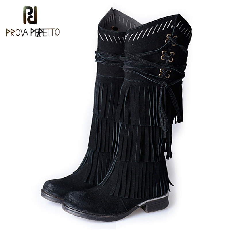 Prova Perfetto Tassel Design Winter Warm Long Boots Fashion Cow Suede Leather Comforable Chunk Low Heel Woman Knee Boots Solid tassel suede leather knee high women winter boots fashion folded design tassel block heeled booty