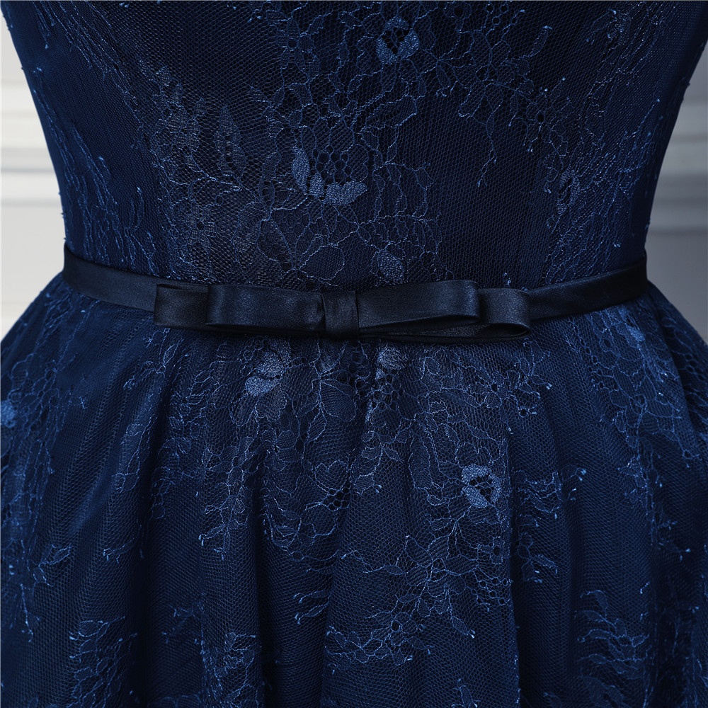 2017 New Design Marinha Azul Vestidos de Noite Longos Rendas de Alta Qualidade Até O Chão Três Quartos Mangas Espartilho Vestido de Noite Formal - 6