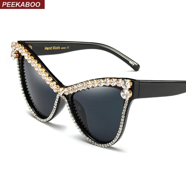 Connu Coucou surdimensionné strass cat eye lunettes de soleil femmes  LK07