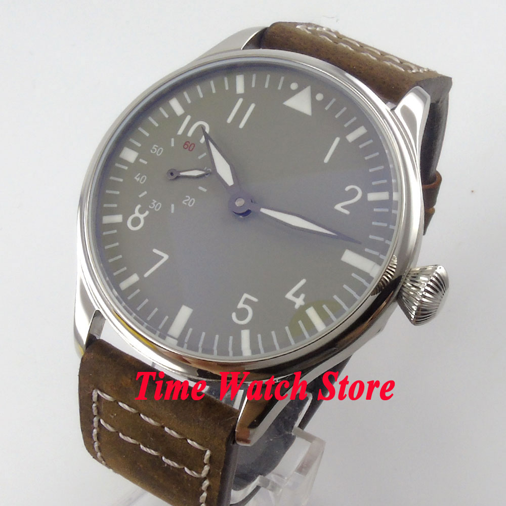 Parnis watch 44mm sterile grey dial luminous 17 jewels 6497 hand winding movement Men's watch 458 цена и фото