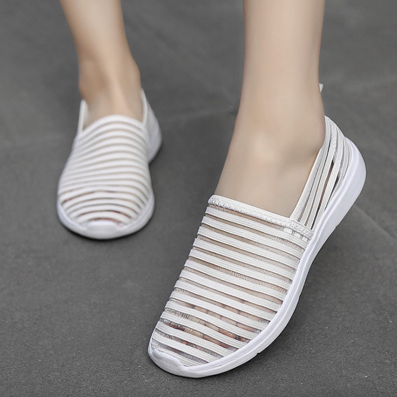 Women Sneakers Shoes 2019 Summer Mesh Women Casual Shoes Flats Platform Breathable Shallow Fashion Shoes White Women Shoes