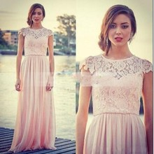 Pink Jewel A Line Lace Full Length Long Bridesmaid Dress Short Sleeves Chiffon Spring Summer Beach Party Formal Gowns 2017