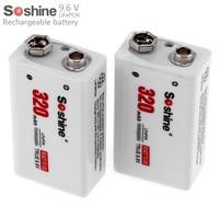 2pcs Set Soshine 9V 6F22 320mAh LiFePO4 Rechargeable Battery Portable Battery Box