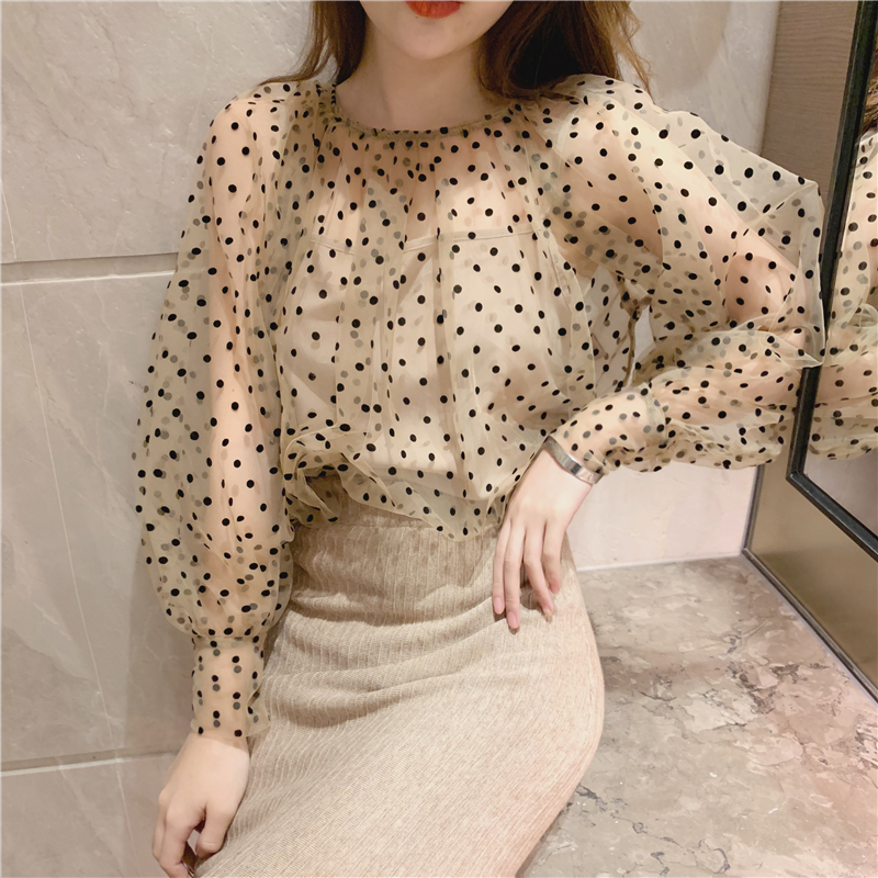 BGTEEVER Elegant O-neck Lantern Sleeve Polka Dot Women Blouses Shirt See Through Mesh Female Shirts Casual Tops chemise 2019