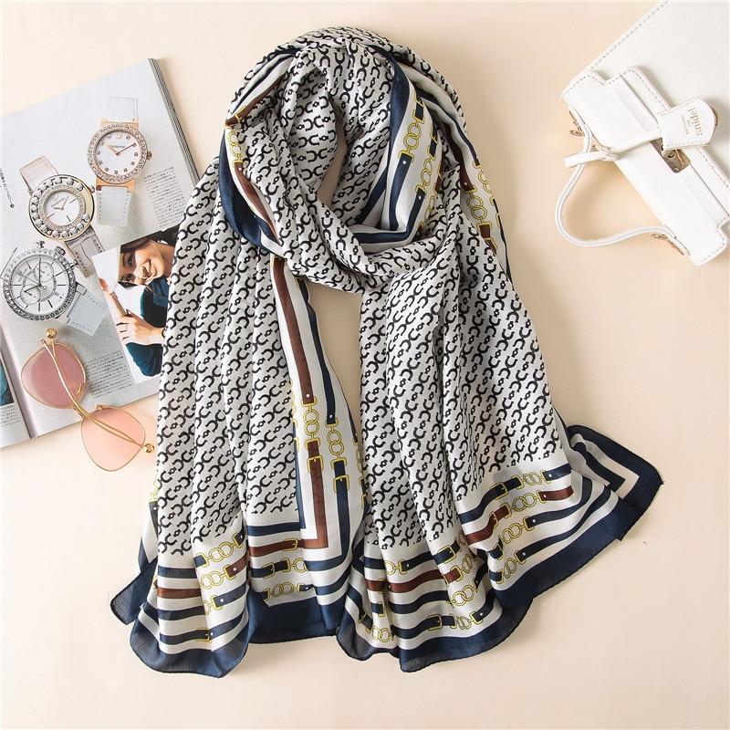2018 Summer Pure Silk   Scarf   Women Luxury Brand Blent Striped Print Shawl   Wraps   Ladies Long Soft   Scarves   Femme Bandana Echarpe