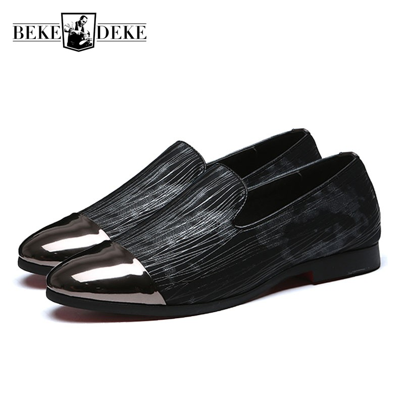 2018 New Fashion Metal Toe Men Pu Leather Dress Shoes Handmade Striped Slip On Loafers Night Club Male Flats Moccasin Gommino women ladies flats vintage pu leather loafers pointed toe silver metal design