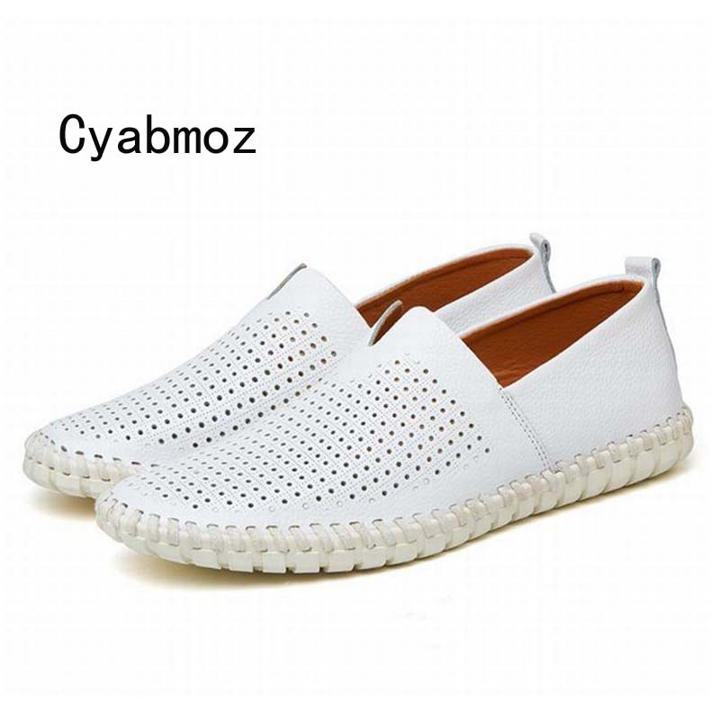 breathable men flats shoes genuine leather handmade sewing loafers Moccasins plus size driving shoes zapatos hombre comfortable