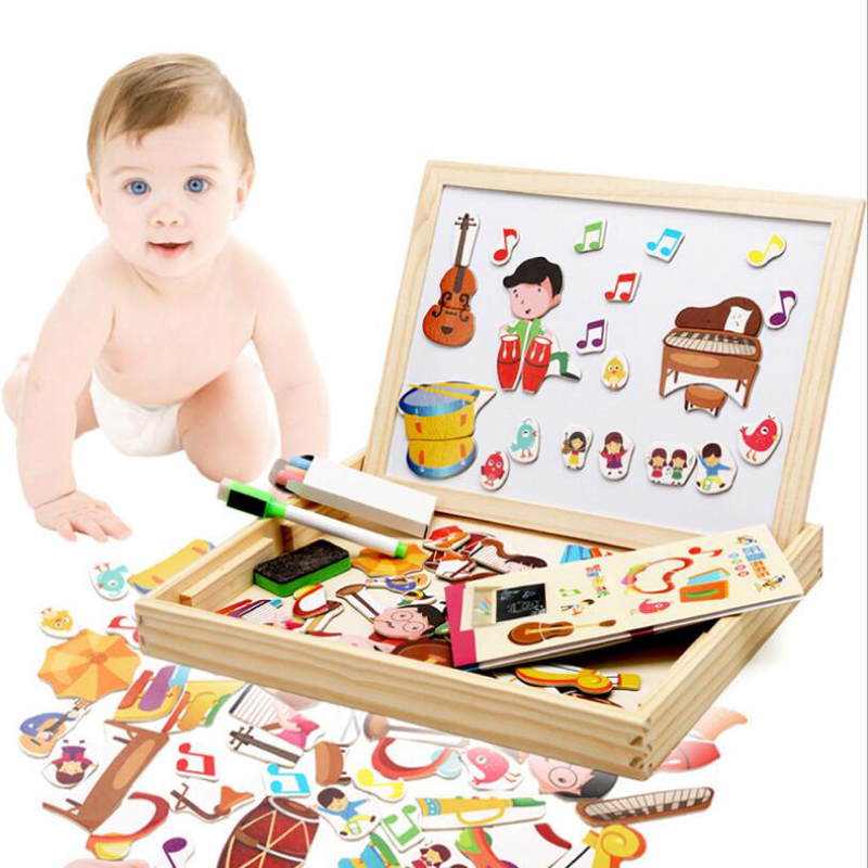 Montessori Wooden Puzzle Jigsaw 2 Side Drawing Board Musical Instruments  Children Magnetic Educational Toy Boys&Girls Toys MT70