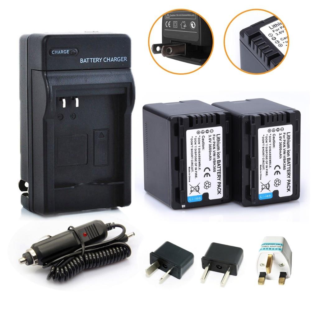 New 2Pcs VW-VBK360 Li-ion VW VBK360 VWVBK360 Camera Battery + Charger For Panasonic HDC-HS80 HDC-SD40 HDC-TM40 SD60 SD80 SDX1