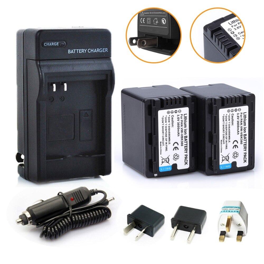 Nuevo 2 unids VW-VBK360 Li-Ion VW VBK360 VWVBK360 Cámara batería + cargador para Panasonic HDC-HS80 HDC-SD40 HDC-TM40 SD60 SD80 SDX1