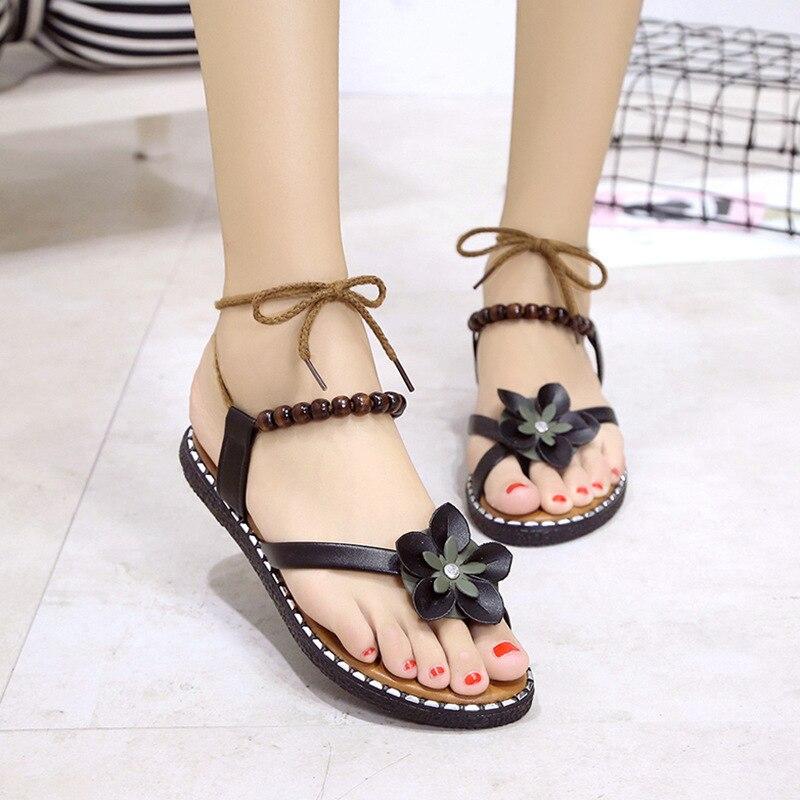 Bohemia Appartement avec perles Sandales Chaussures Rome Chaussures étudiants marée Chaussures Bl6ts8