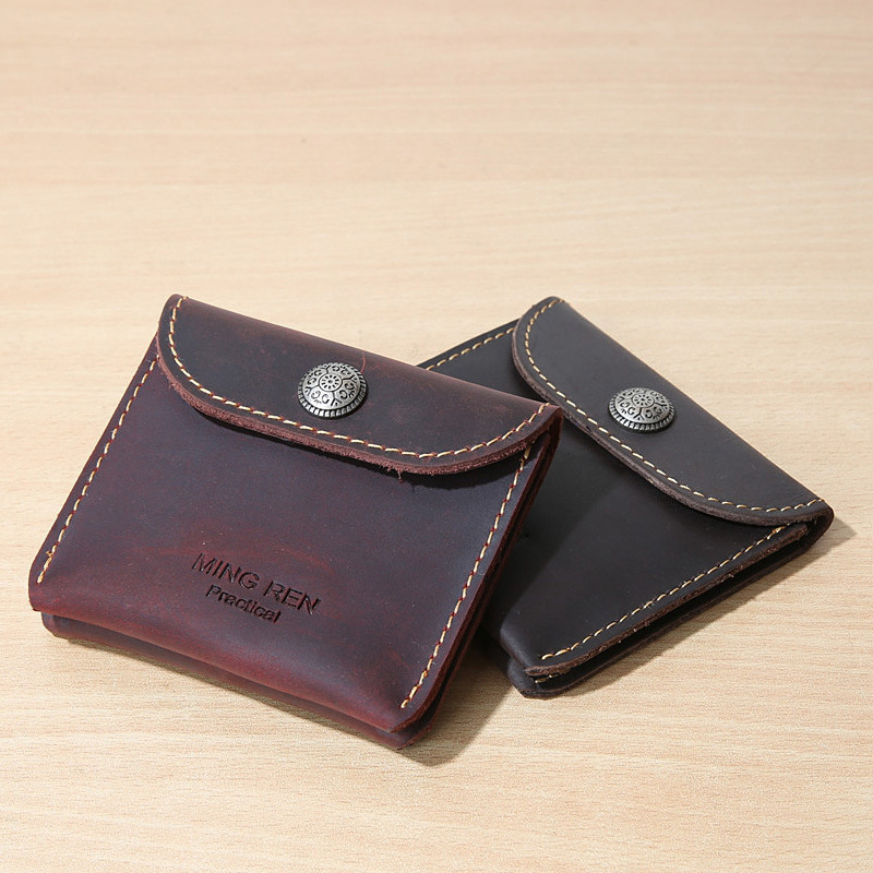 EACME Handmade Delicate Small Card Case Crazy Horse Leather Wallets ...