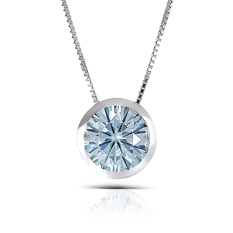 Transgems Platinum Plated Silver 3CTW 9mm Round Brilliant Moissanite Pendant Necklace Bezel Setting for Women moissanite pendant 18k 750 yellow gold round brilliant lab grown moissanite diamond pendant necklace chain for women jewelry