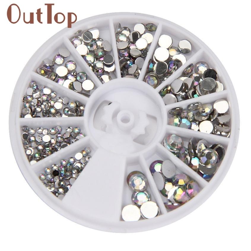 OutTop круглый 3D акриловый дизайн ногтей драгоценные камни Кристалл Стразы DIY гвозди украшения колесо серебро 17dec11-24