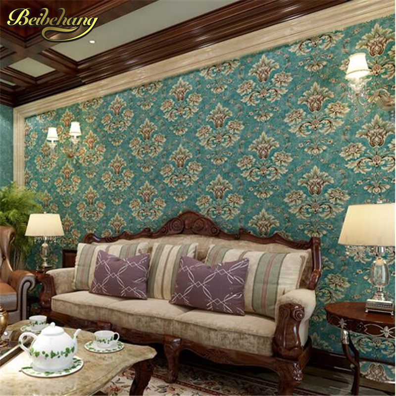 beibehang pastoral non-woven fabrics 3D stereoscopic TV backdrop wall paper roll nonwoven flocking wallpaper living room bedroom