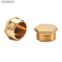 Copper 1/8 1/4 3/8 1/2 3/4 Male Thread Brass Pipe Hex Head End Cap Plug Fitting Coupler Connector Adapter