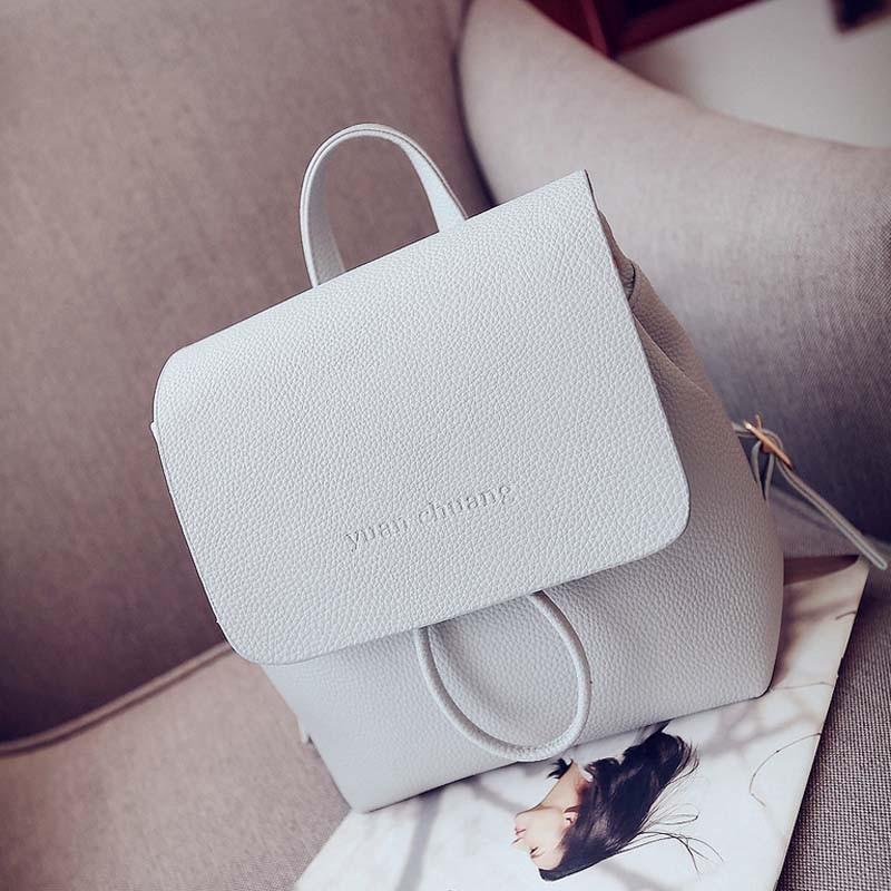 Simple Designer Small Backpack Women White and Black Travel PU Leather Backpacks Ladies Fashion Female Rucksack Back Bag XA1018B (3)
