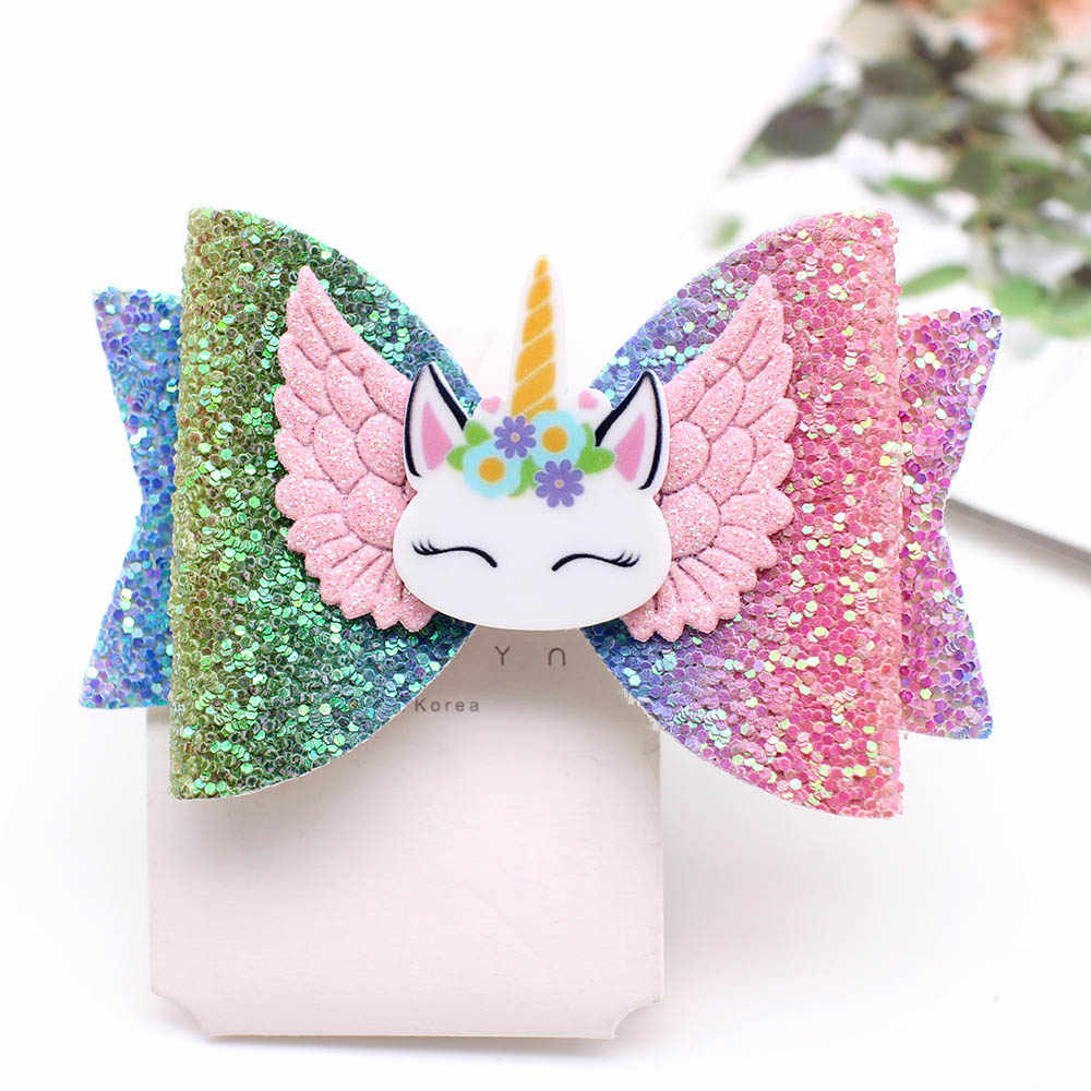 Nuevos accesorios para el cabello con alas de unicornio lazos para el cabello para niñas broches de cabello con brillo brillantes Linda horquilla de alce adorno de pelo para niños Barrettes